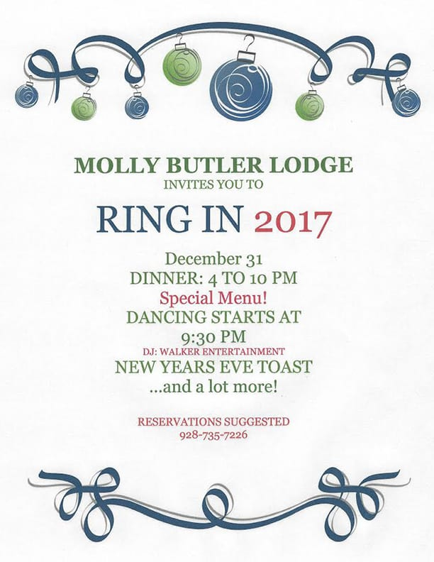 Molly Butler Lodge Ring in the New Year flier (image)