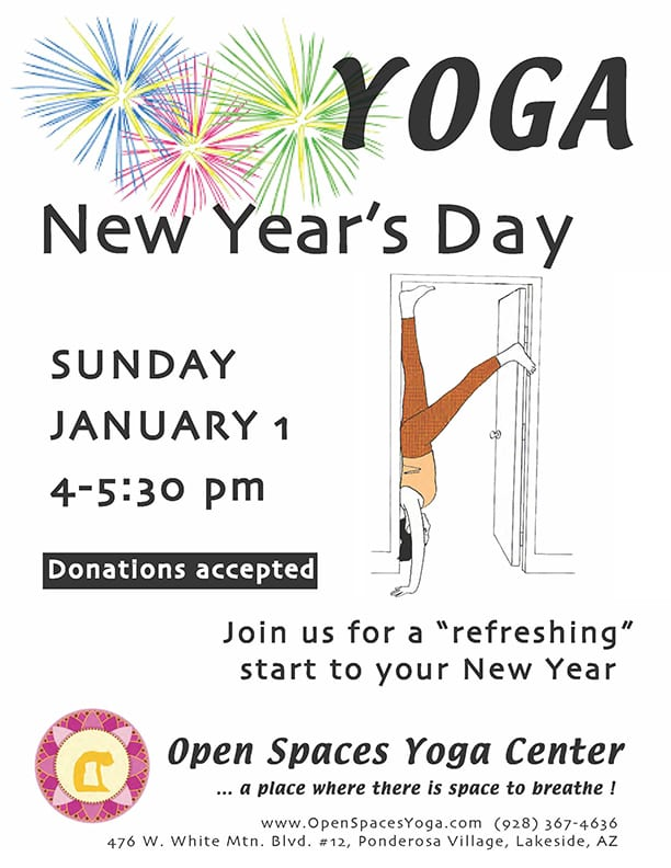 Open Spaces New Year's Day yoga flier (image)