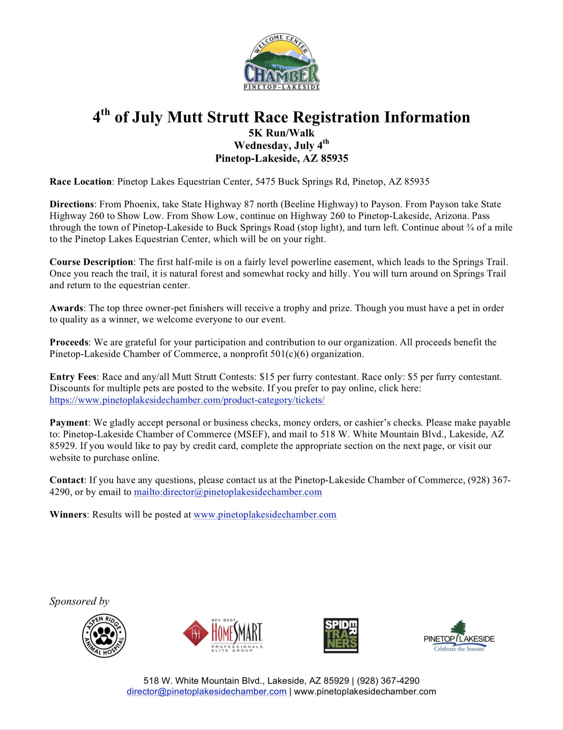 4th of July Mutt Strutt Run/Walk Registration Form (image)