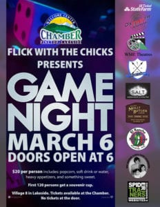 Flick with the Chicks: Game Night flier (image)