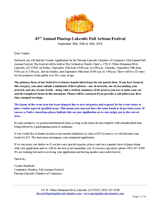 Fall Artisans Festival Vendor Information   Pinetop-Lakeside