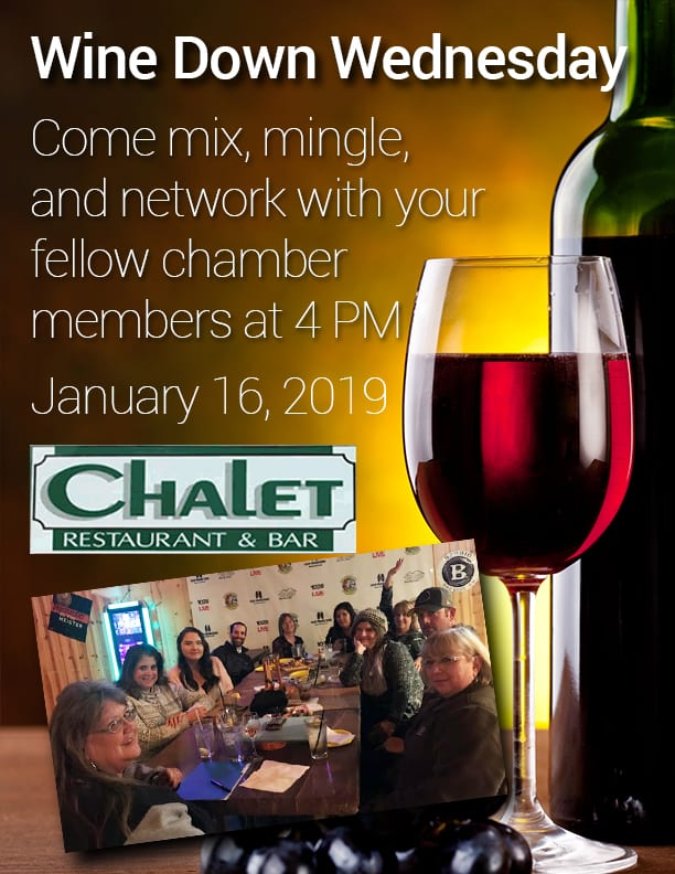 Wine Down Wednesday at the Chalet flier (image)