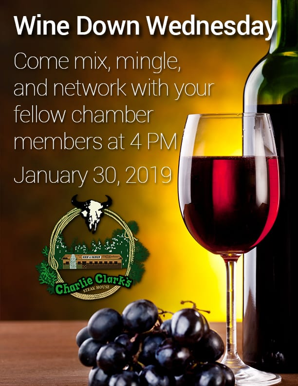 Wine Down Wednesday at Charlie Clark's Steakhouse flier (image)