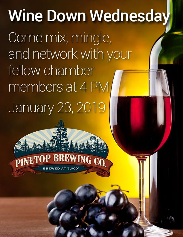 Wine Down Wednesday at Pinetop Brewing Company flier (image)