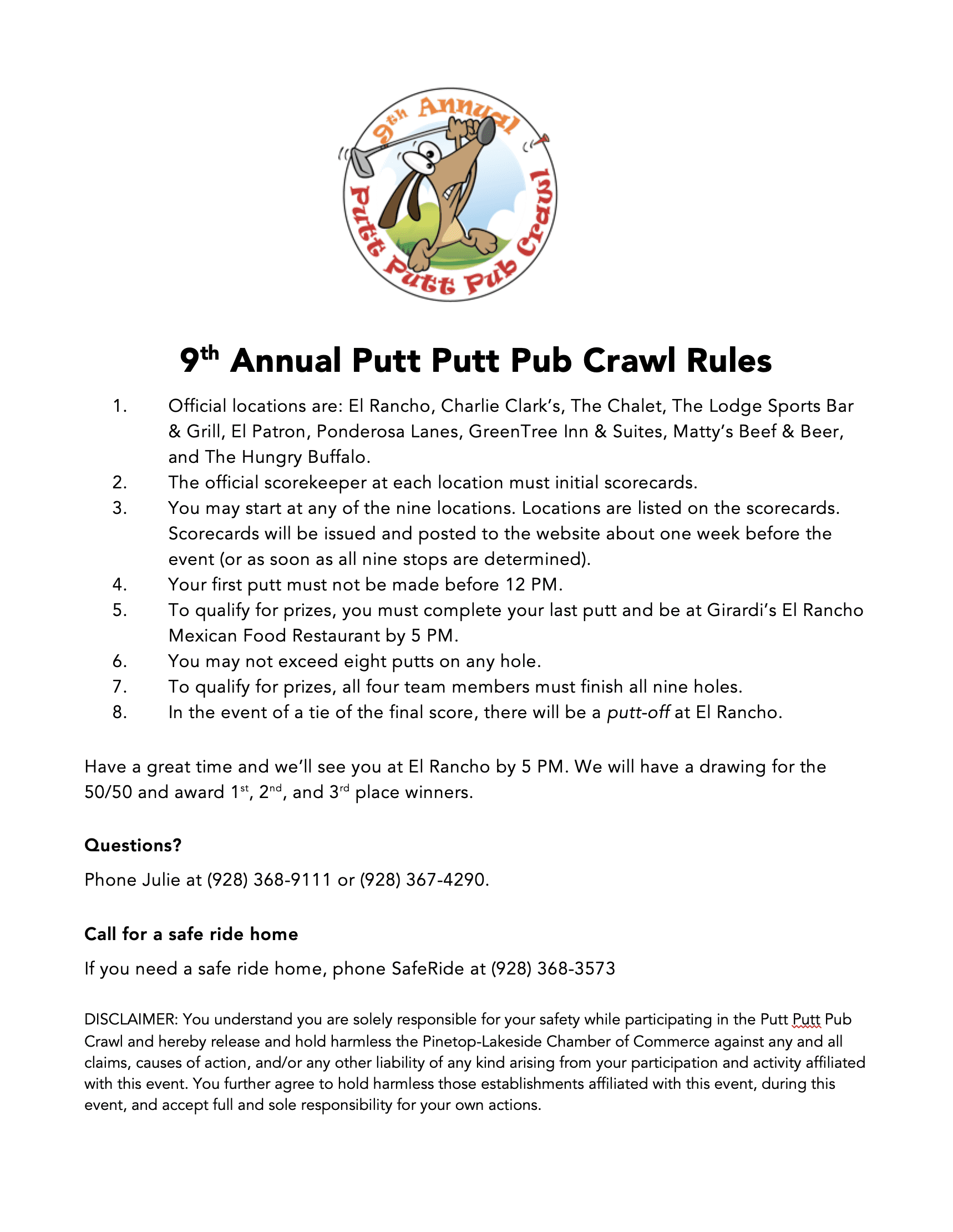 Putt Putt Pub Crawl Official Rules