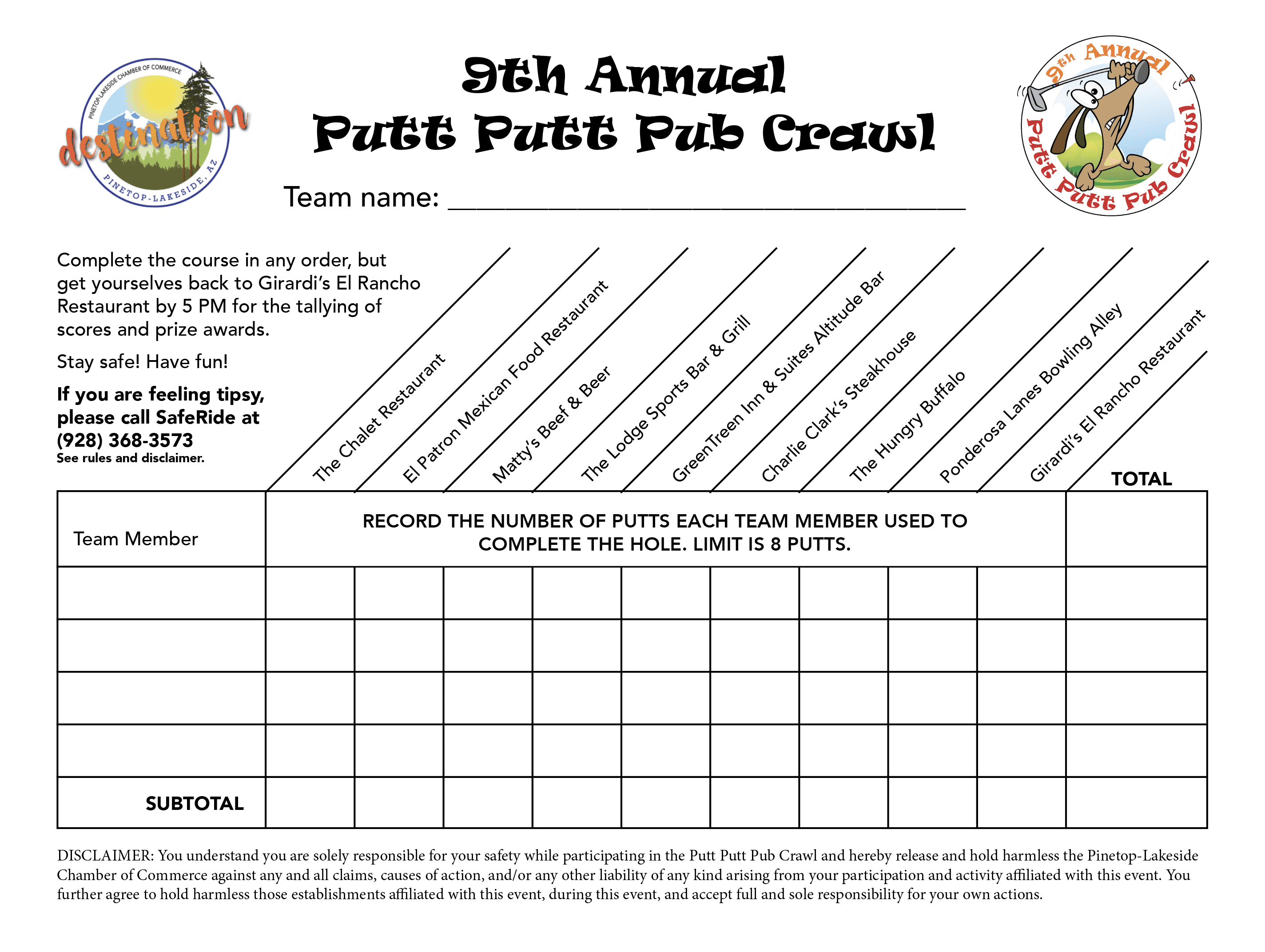 Putt Putt Pub Crawl Official Scorecard